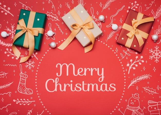 クリスマスコンセプトモックアップのフラットレイアウト 無料 Psd
