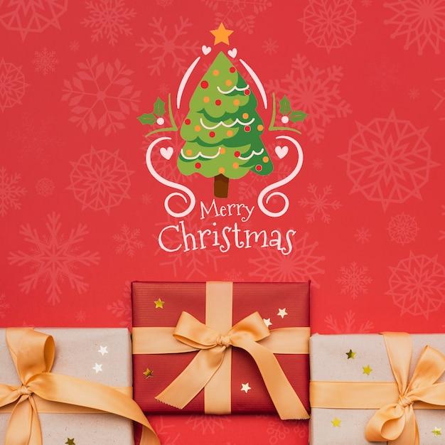 Красивый рождественский подарок концепт макет Бесплатные Psd