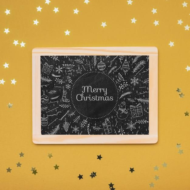 クリスマスコンセプト黒板の平面図 無料 Psd