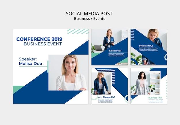 ビジネスの女性コンテンツを含む企業のソーシャルメディアの投稿 無料 Psd
