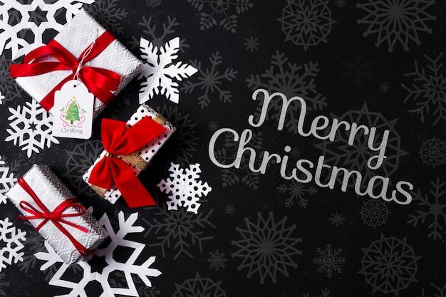 Сообщение на рождество и подарки Бесплатные Psd
