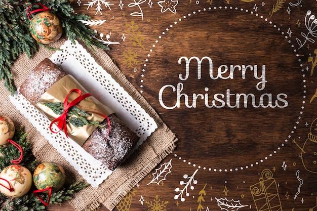 Сладкий хлеб на подносе, приготовленный к рождеству Бесплатные Psd