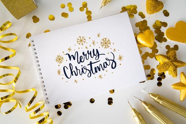 クリスマスのメッセージ付きノート 無料 Psd