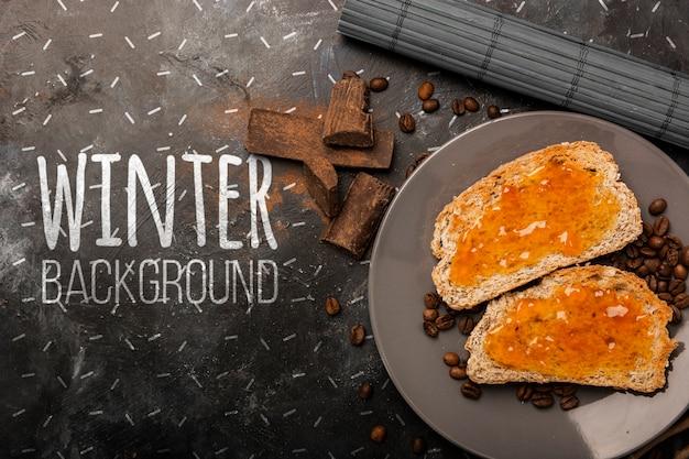 モックアップの冬の朝食のセットアップ 無料 Psd