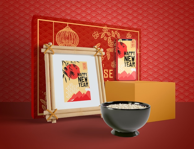 Китайский новый год иллюстрация с миской риса Бесплатные Psd