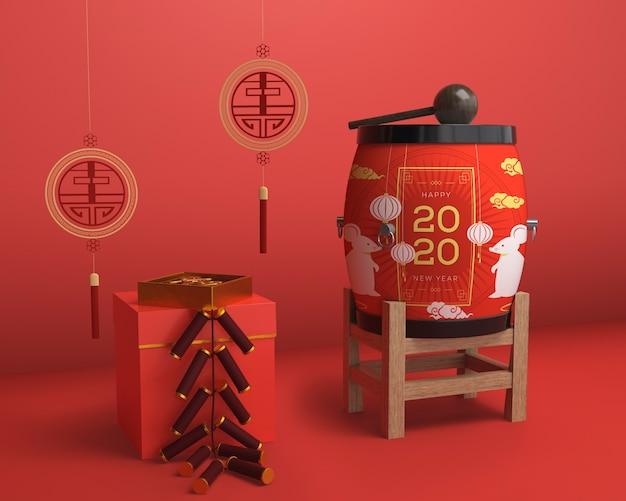 Красные цветные украшения на новый год Бесплатные Psd