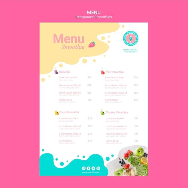 Шаблон меню ресторана смузи Бесплатные Psd