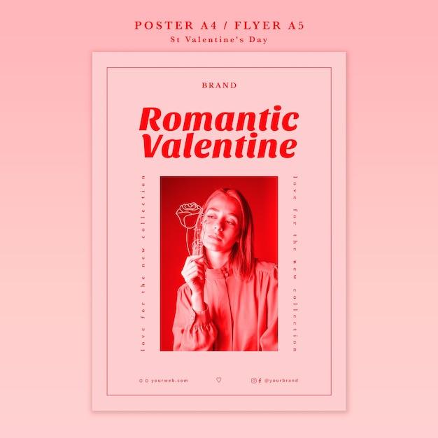 Романтическая валентинка с постером девушки Бесплатные Psd