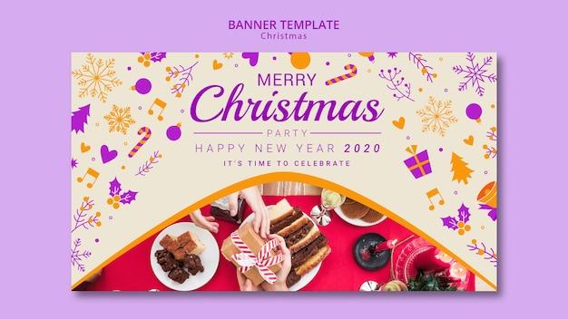 Рождественский баннер шаблон с рисунком Бесплатные Psd