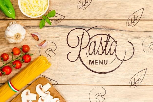 Обои пасты меню с вкусными ингредиентами Бесплатные Psd