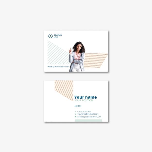 Концепция шаблона с деловой женщиной для визитной карточки Бесплатные Psd
