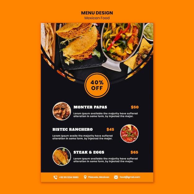 Шаблон меню мексиканской кухни Бесплатные Psd