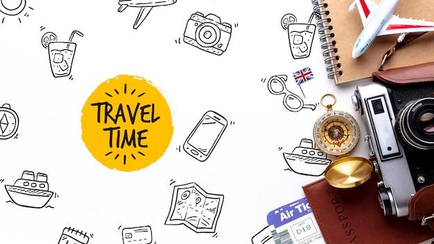 Инструменты путешественника во время изучения Бесплатные Psd