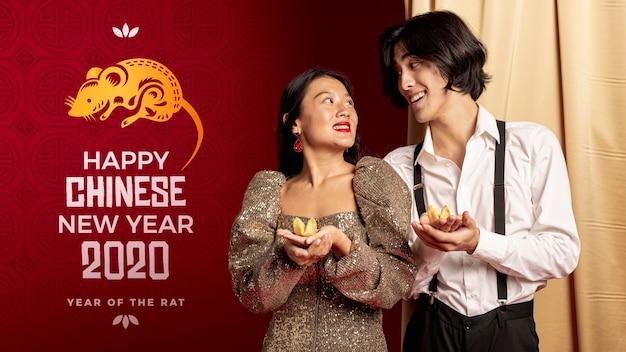 新年の夜にエレガントな服を着た男と女 無料 Psd