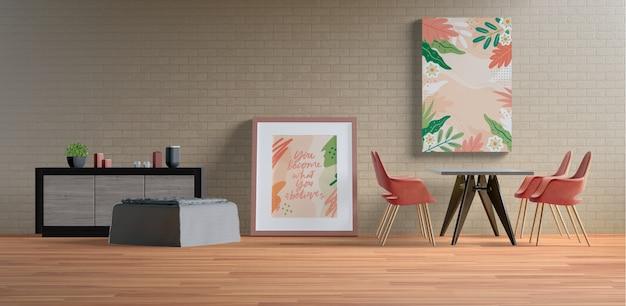Окраска рам с пустым пространством в гостиной Бесплатные Psd