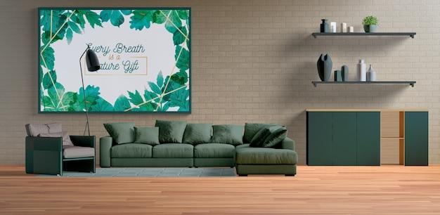 Большая минималистичная роспись рамы в гостиной Бесплатные Psd