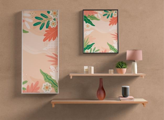 壁に絵画フレームモックアップ 無料 Psd