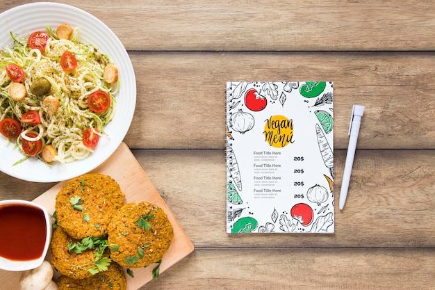 Вид сверху ассортимент со здоровой едой и меню Бесплатные Psd