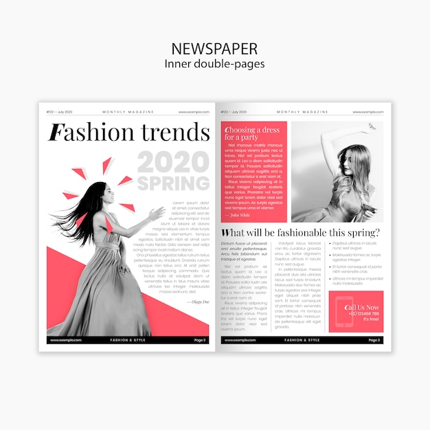 春のファッショントレンド内の二重ページ新聞 無料 Psd
