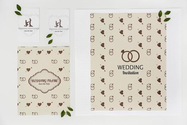 フラットレイアウトの結婚式の招待カード 無料 Psd