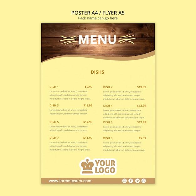 Шаблон меню плаката ресторана Бесплатные Psd