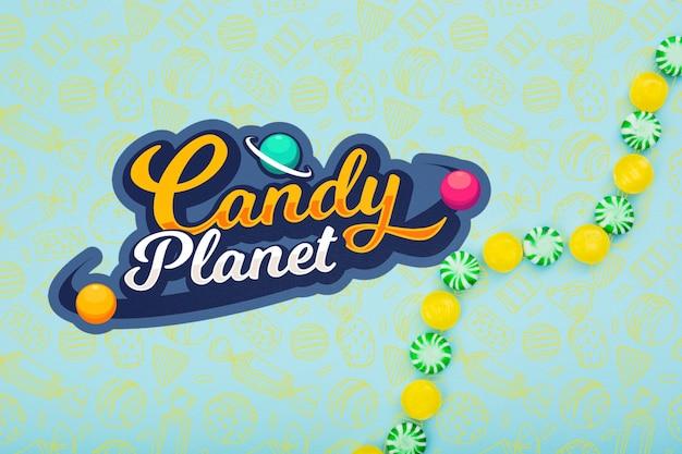 おいしい緑と黄色のキャンディーとキャンディの惑星 無料 Psd