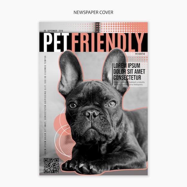 友好的な犬をカバーした新聞版 無料 Psd