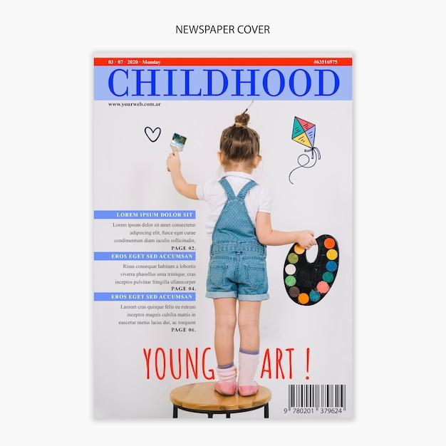 Газетный шаблон о детстве Бесплатные Psd