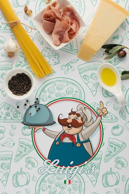 イタリア料理のモックアップの材料 無料 Psd