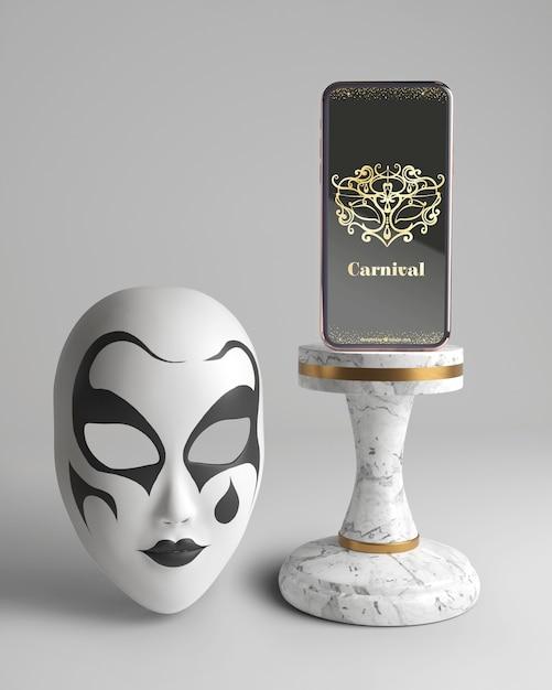 Мобильный телефон карнавал приложение макет и маска Бесплатные Psd