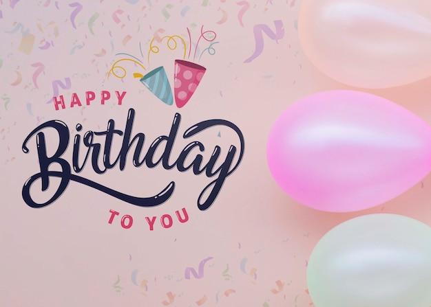 パステルカラーの風船でレタリングするお誕生日おめでとう 無料 Psd