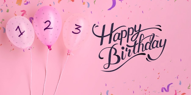 С днем рождения, обратный отсчет воздушных шаров и конфетти Бесплатные Psd