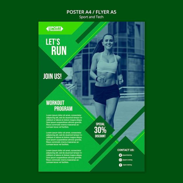 Современный спортивный и технологичный шаблон постера Бесплатные Psd
