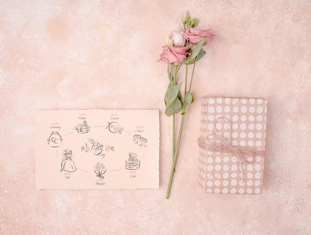 結婚式招待状の美しい花 無料 Psd