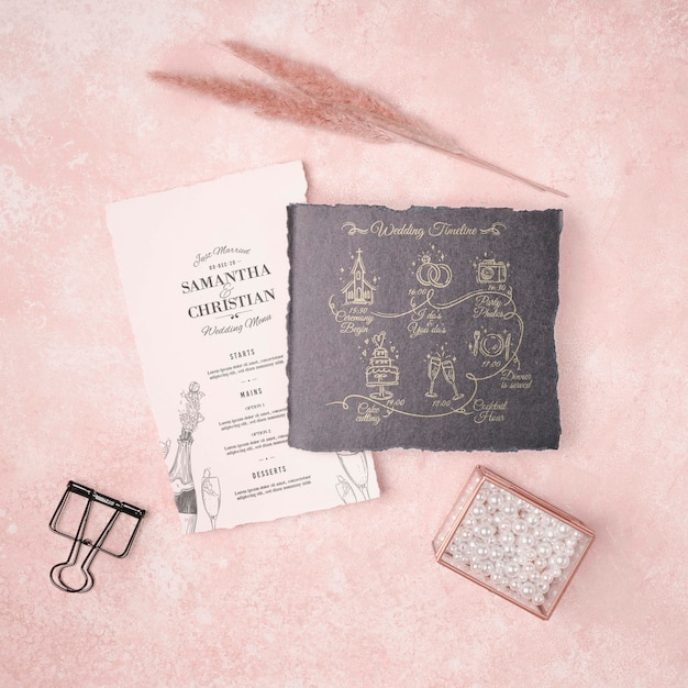 文房具の結婚式の招待状のコンセプト 無料 Psd