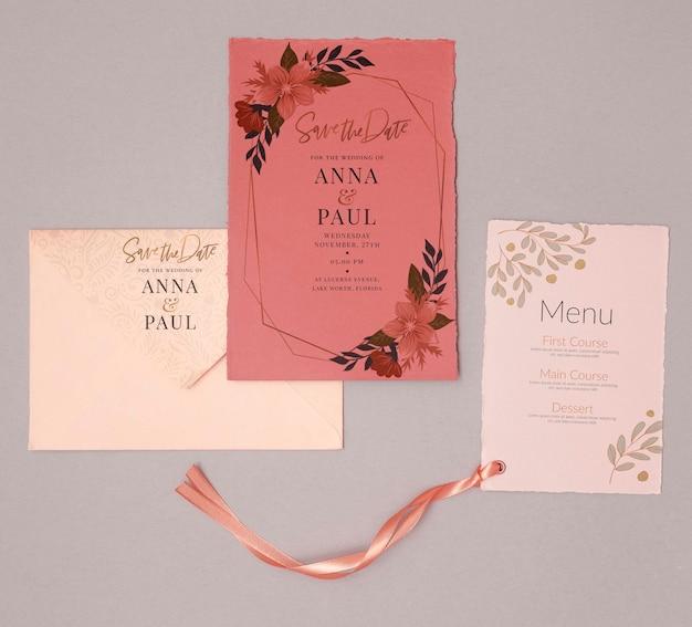 メニューとカラフルな結婚式の招待状 無料 Psd