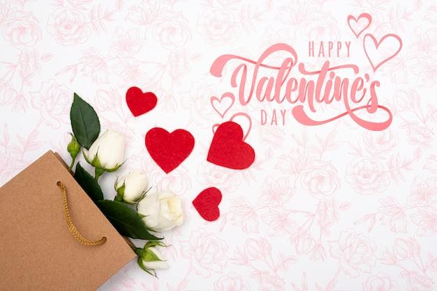 バラの花束と幸せなバレンタインデーレタリング 無料 Psd