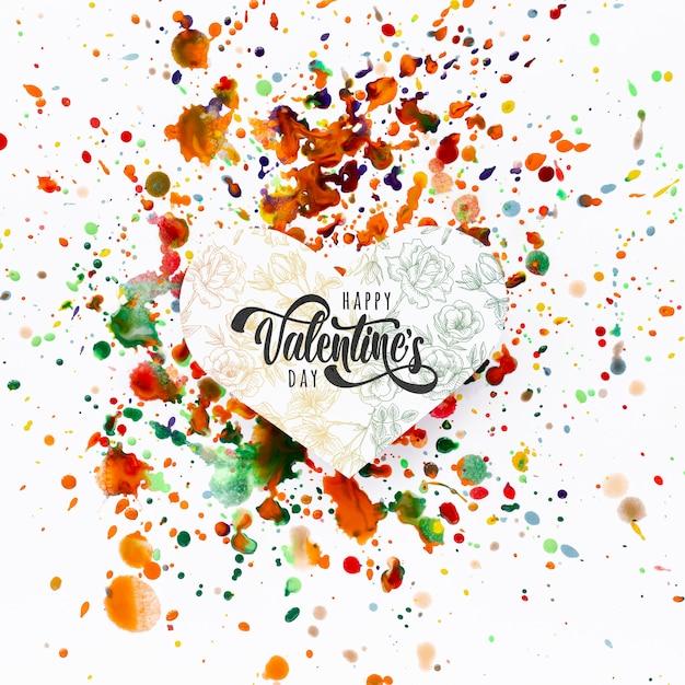 カラフルな汚れの背景に幸せなバレンタインデーレタリング 無料 Psd