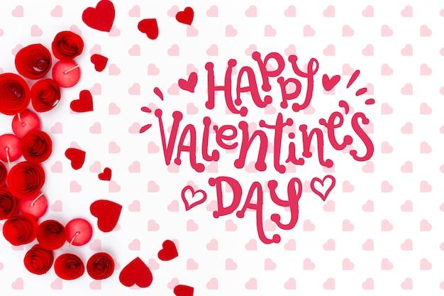 素敵な背景に幸せなバレンタインデーレタリング 無料 Psd