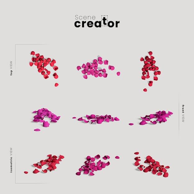 Создатель сцены с разноцветными лепестками Бесплатные Psd