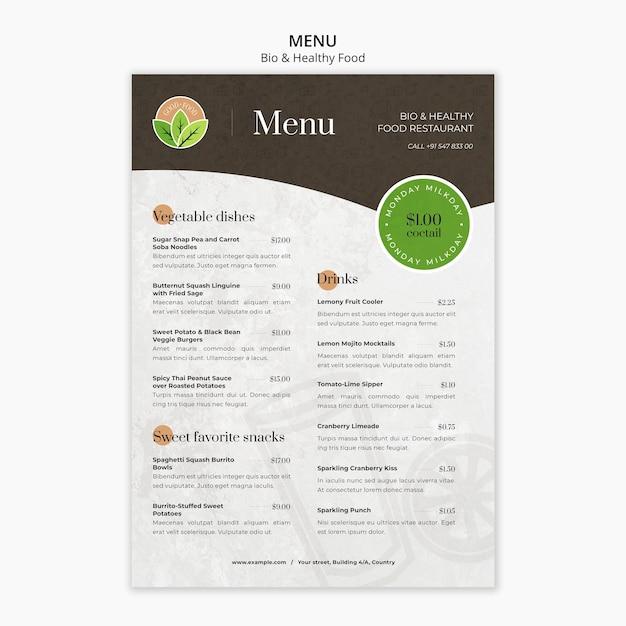 Шаблон меню ресторана здорового питания Бесплатные Psd