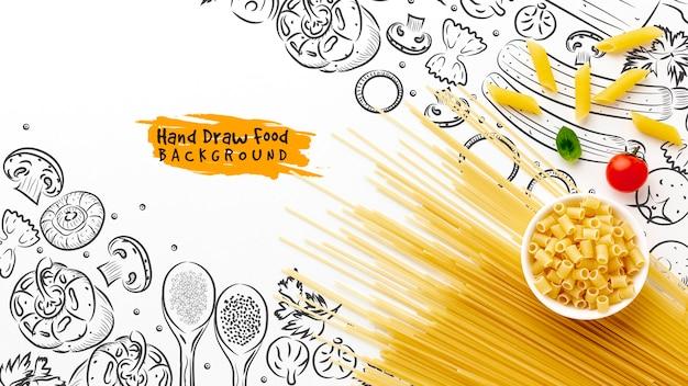フラットレイアウト未調理パスタミックスとトマトの手描きの背景 無料 Psd