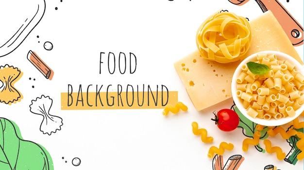 フラットレイアウト未調理パスタミックスとチーズの手描きの背景 無料 Psd