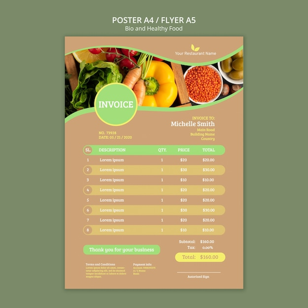 Био и здоровая пища постер Бесплатные Psd