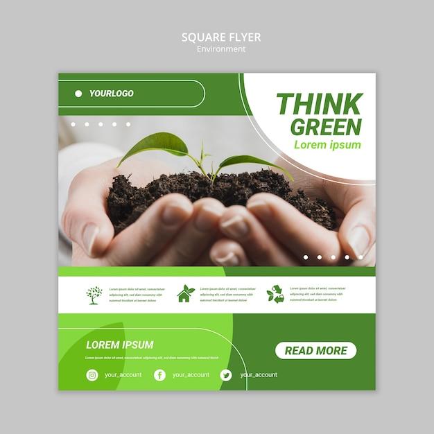 植物の正方形のチラシテンプレートで汚れを保持手 無料 Psd
