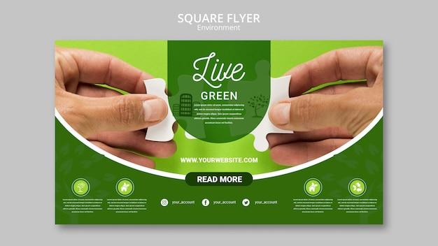 緑豊かな環境とパズルのピースを持っている手 無料 Psd