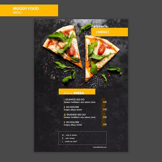Муди ресторан макет меню еды Бесплатные Psd