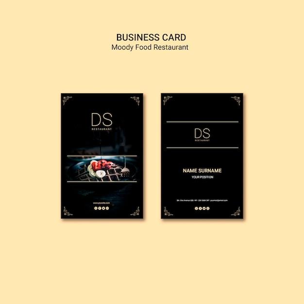 Шаблон визитной карточки ресторана муди фуд Бесплатные Psd