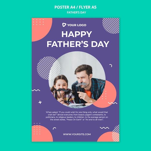 幸せな父の日コンセプトポスターモックアップ 無料 Psd
