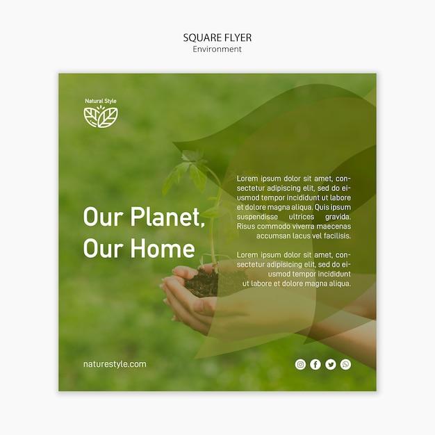 Шаблон флаера с темой окружающей среды Бесплатные Psd